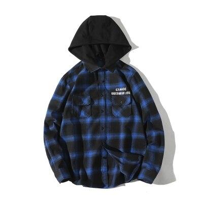 Loldeal Men's Hooded Shirt Jacket Camp Flannel