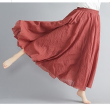 Femmes lin coton jupes longues taille élastique plissée Maxi jupes plage bohème Vintage été jupes Faldas Saia noir Saia Longa