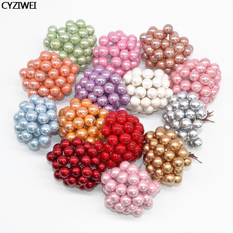 28colors Mini Handcraft Artificial Berries Flower Plastic Pearl Stamen Sugar Fake Fruit Cherry For Wedding Chrastimas Xmas Decor
