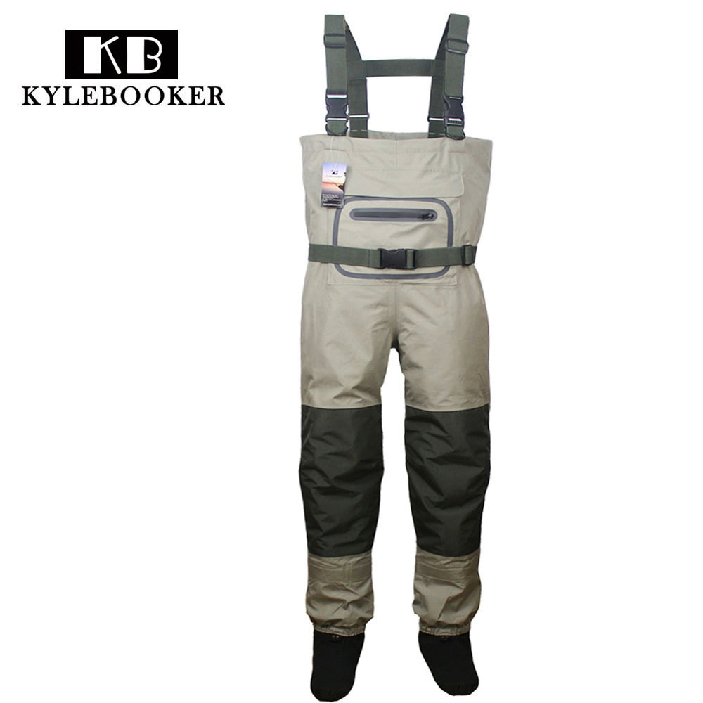 high jump ultra thin 0 34mm siamese fishing waders waterproof 700d nylon pvc breathable chest height pocket belt fishing overall Breathable Hunting Fishing Chest Waders Waterproof and Lightweight  Fly Fishing Wader with stocking foot for Men and Women