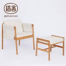 Poltrona com esponja almofada e pendurado sacos de armazenamento de bambu sofá cadeira e fezes conjunto de móveis para casa cadeira de escritório móveis