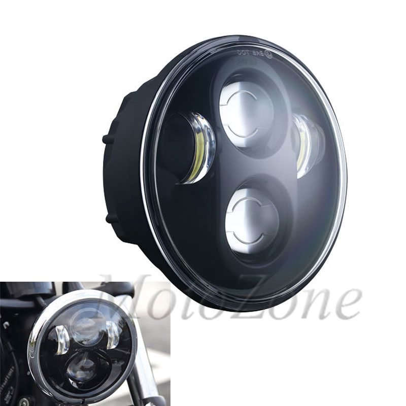 Faro delantero LED para proyector de 5,75 pulgadas, faro delantero redondo para motocicleta de 5 y 3/4 pulgadas, adecuado para Harley Softail Dyna Sportster