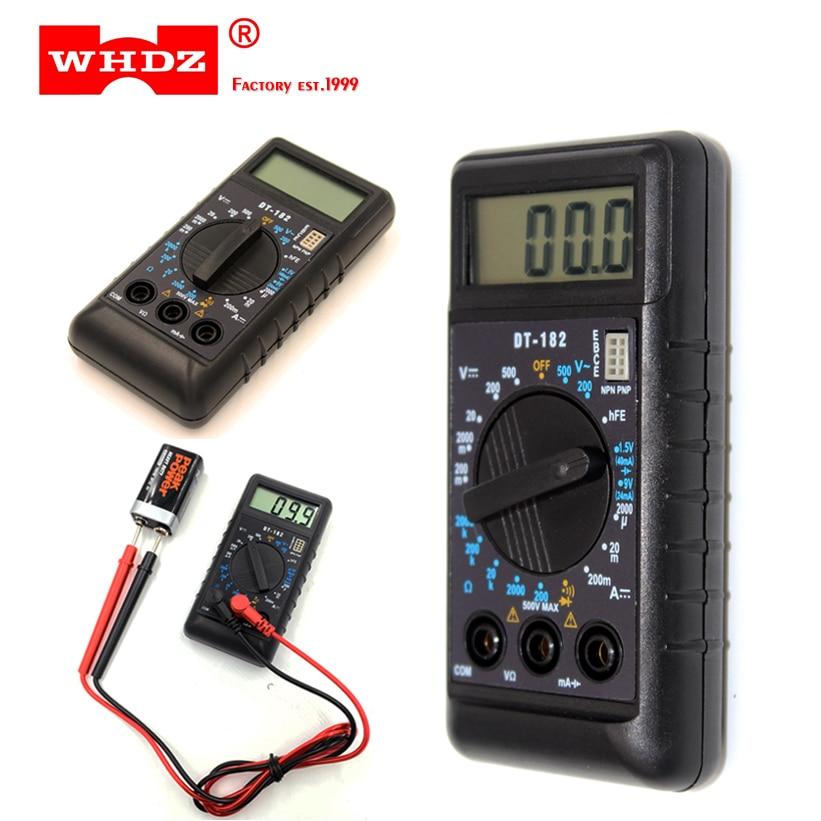 WHDZ DT-182 Экстра мини цифровой мультиметр зуммер защита от перегрузки Вольтметр Карманный Ампер Омметр тестовый зонд DC AC LCD