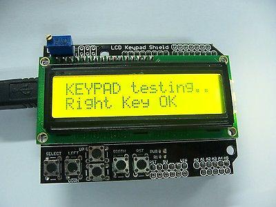 Amarelo backlight 1602 lcd placa teclado escudo lcd duemilanove robô