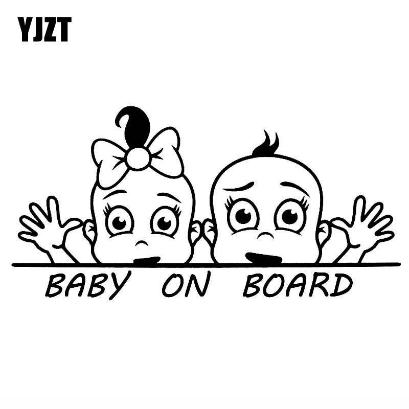 YJZT 15.2CM*7.5CM BABY ON BOARD Vinyl Car Sticker Decal Boy And Girl Lovely Black/Silver C10-00603