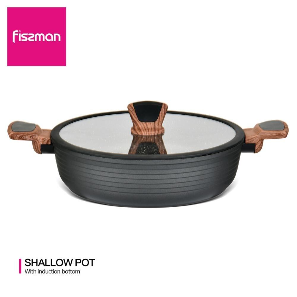 FISSMAN 28 см мелкий горшок с крышкой антипригарное Мраморное покрытие алюминиевая