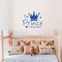 Vinyle stickers muraux couronne étoiles personnages autocollant mural le Prince dort ici chambre décoration enfants bébé décor à la maison W548