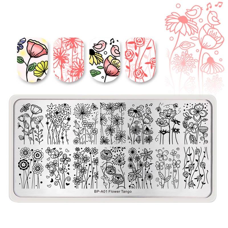 NASCIDO 1PC Natal Prego Stamping Template Flor Geometria Animal BONITO Retângulo Nail Art Carimbar A Placa Com Batedor