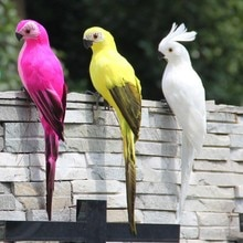 Décor de jardin avec plumes et mousse   Simulation faite à la main, décoration créative de perroquet, décoration de plate-forme doiseau Animal