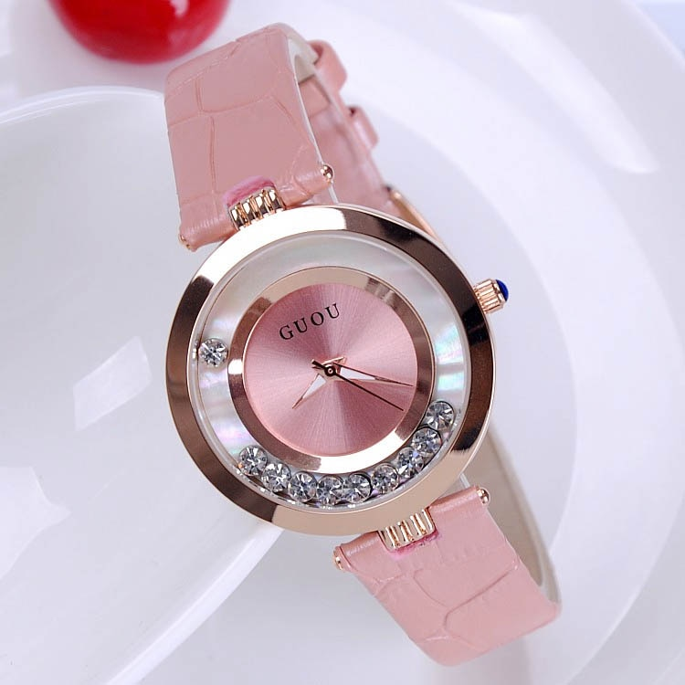 Fashion  Hot Sales Women Rolling Drill Watch Luxury Quicksand Gift Dress Watch Genuine Leather Clock Rhinestone Wrist watch enlarge