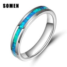 4mm anéis para as mulheres tungstênio anel azul fogo opal inlay luxo casamento banda anéis de noivado anel de cocktail jóias anillos mujer