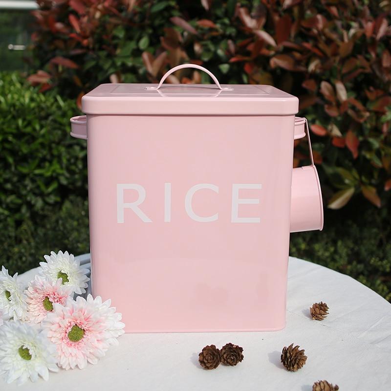 Caja de almacenamiento para baño de cocina, 10L contenedor de arroz de grano, cajas de polvo de Zinc para lavandería de Metal, contenedor de almacenamiento, lata de pan con cuchara