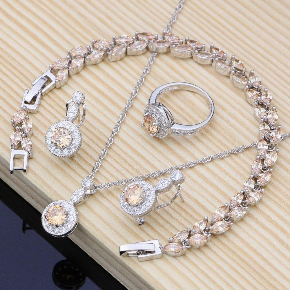 Conjuntos de joyería de plata 925 para novia, joyería de circón Natural para mujer, pendientes con collar de piedra, conjunto Dropshipping