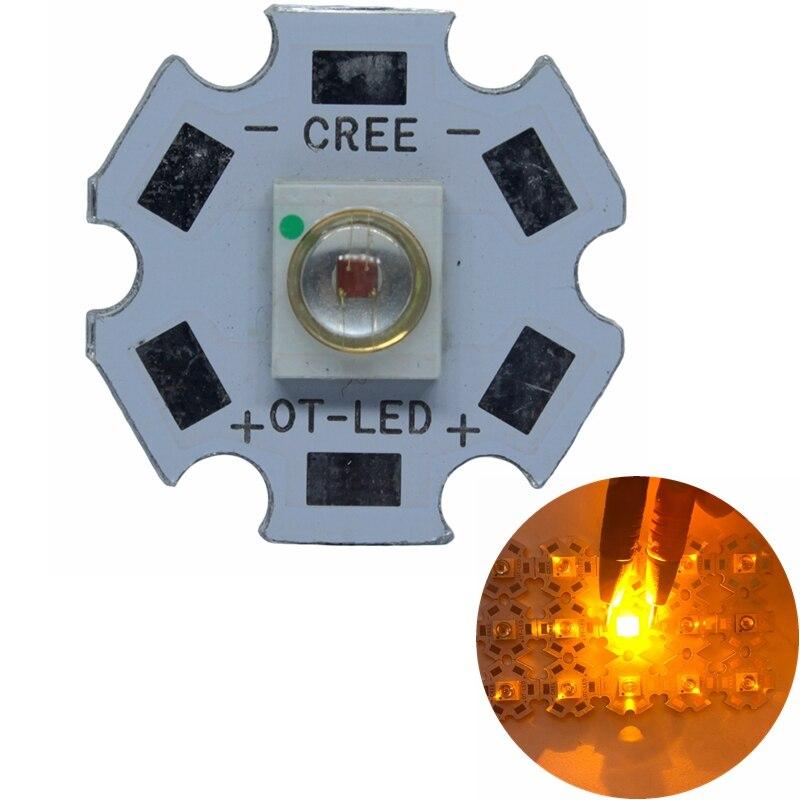 Светодиодная лампа высокой мощности, 50 шт., оранжевая, желтая, 3 Вт, COB, 590-595nm, 20 мм/16 мм, встроенная для DIY