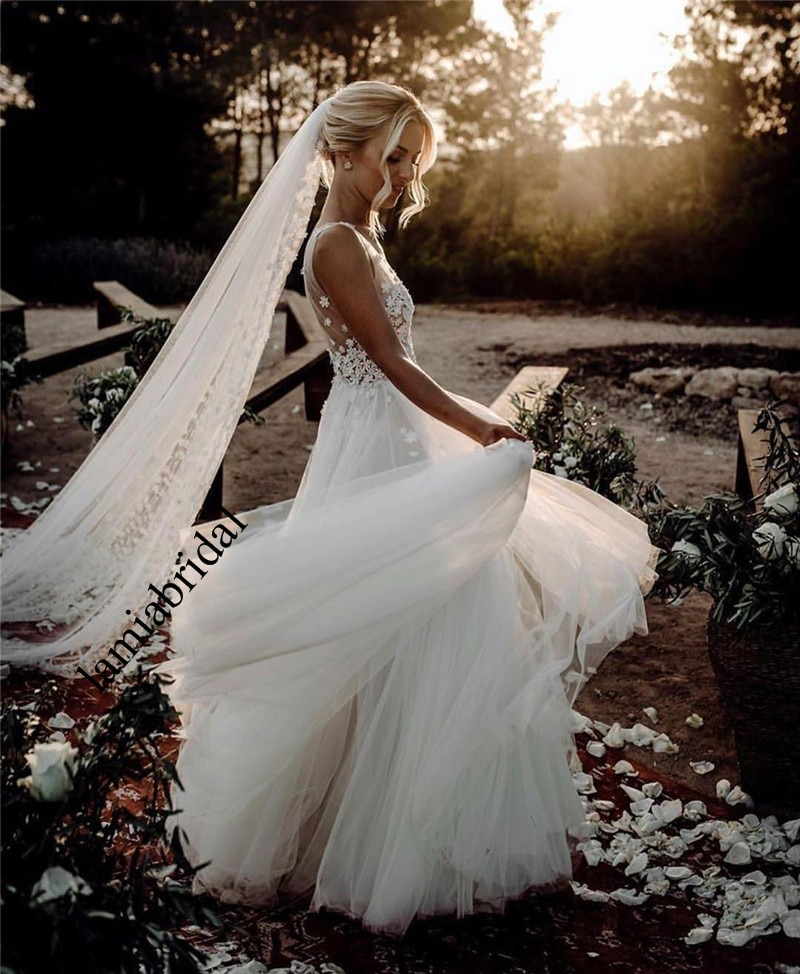 Vestidos De boda románticos 3D florales De talla grande, vestidos Hippie De...