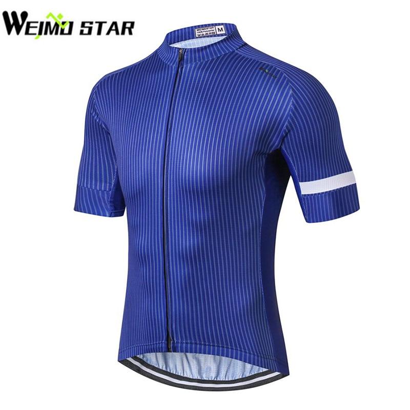 2018 Ciclismo Jersey WEIMOSTAR hombres carreras azul camisas jersey bicicleta Ciclismo Ropa Ciclismo Maillot Tops azul