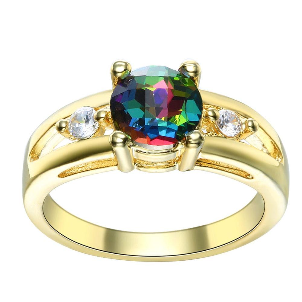 ¡Novedad! anillos de cristal arcoíris para mujer, regalo de boda, joyería de moda dorada, anillo de compromiso de circonita checa elegante para hombres y princesas