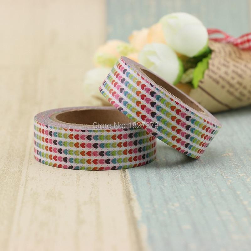 1pcs colorful foil plants 1pcs colorful Heart Foil Washi Tape Japanese Paper 1.5cm*10m Kawaii Masking Tape Xmas Photo Album Diy Decorative Tapes