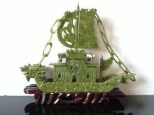 Jade naturel chinois sculpté à la main   RARE 100% bateau de Dragon Rare, yifanfengshun