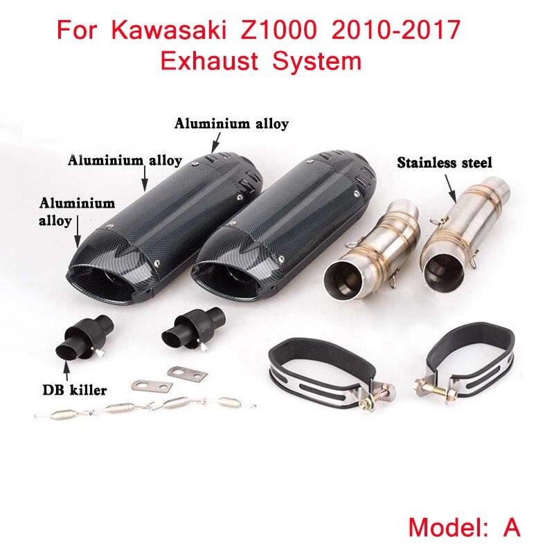 2010-2017 sistema de escape para motocicleta Silp para Kawasaki z1000 medio tubo de conexión con la cola de escape tubos del silenciador