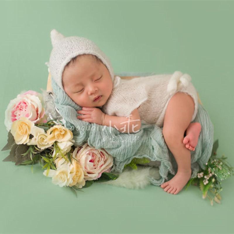 Atrezos para fotografía de bebés, Pelele de mohair hecho a mano con sombrero, accesorios para disfraces de fotografía