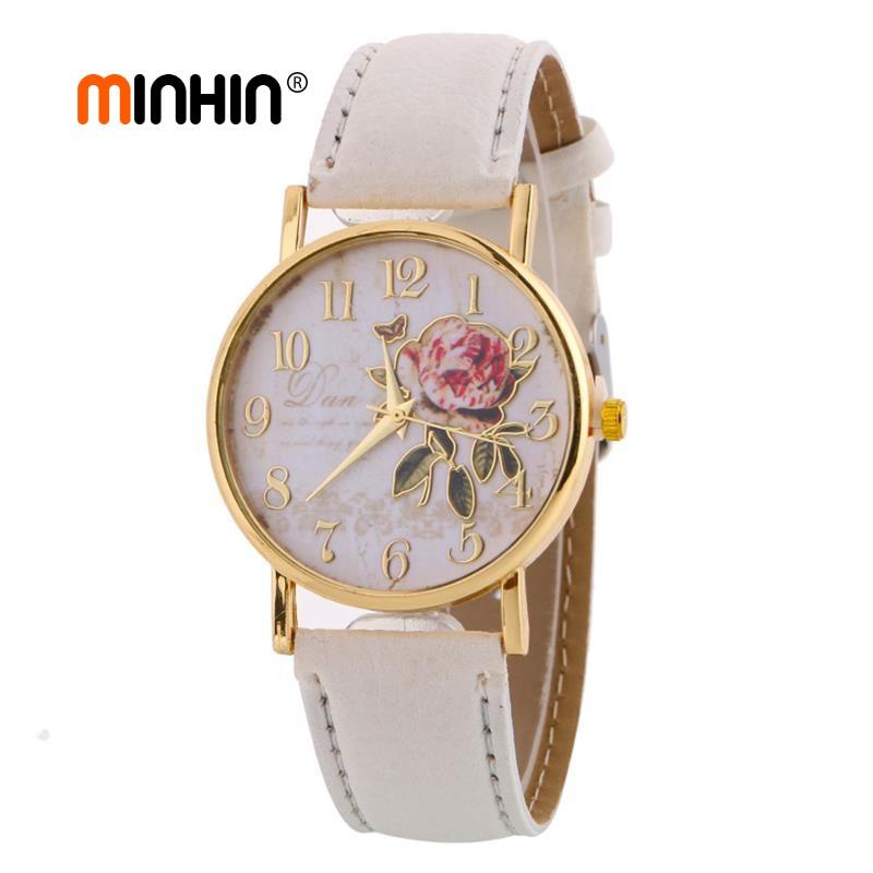 MINHIN, recién llegado, relojes con patrón rosa para mujer, superventas, relojes de pulsera de cuero PU, regalo, moda, reloj informal para estudiantes