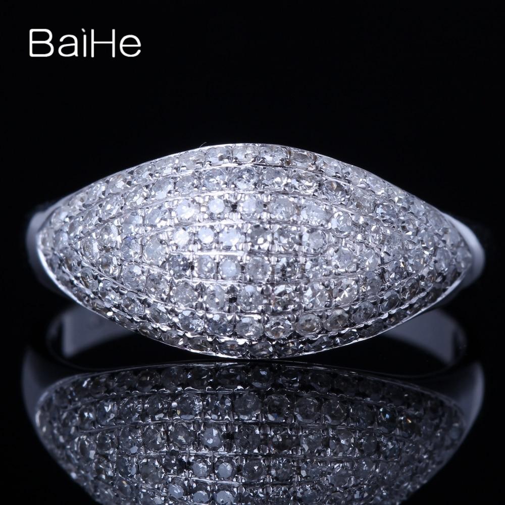 BAIHE الصلبة 10K الذهب الأبيض 0.6ct H/SI جولة الماس الطبيعي المشاركة المرأة العصرية مجوهرات خاتم الماس