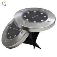 4pcs 태양 강화한 지상 빛 방수 정원 통로 갑판 빛 4/8/12/16 LED 램프 홈 야드 차도 잔디 도로