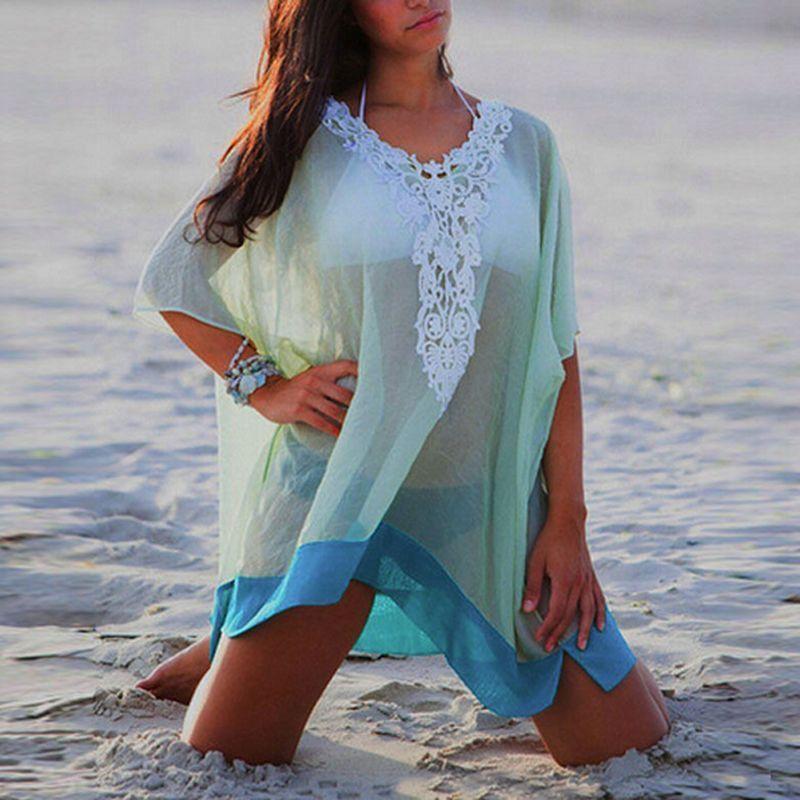 Mujer de verano de malla cubrir-up bikini con cuello en V cubrir Ups mujeres traje de baño cubre la playa túnica traje de baño Coverups