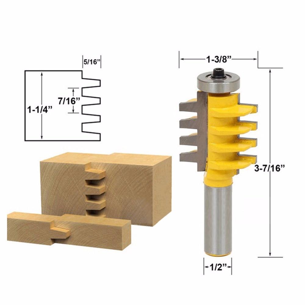 "5/16"" x 1/2"" Shank Rail Stile Glue Joint Router Bit Cone Tenon Woodwork Cutter"