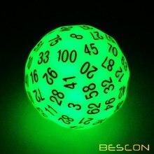 Bescon Super Jade lueur dans les dés polyèdres sombres 100 côtés, D100 lumineux meurent, Cube 100 côtés, D100 brillant jeu dés