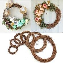 Decoración de la boda corona de flores corona de mimbre Natural Garland DIY manualidades decoración de puerta de casa regalo navideño para árbol grande fiesta ornamento