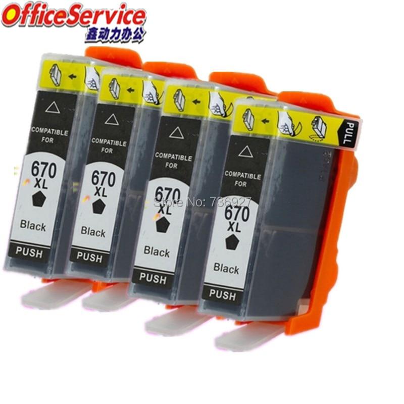 4 cartucho de tinta Compatible negro para HP670 HP 670 XL, traje para Deskjet serie 3525/4615/4620/4625/5525/6526 impresora de inyección de tinta de CZ117AB