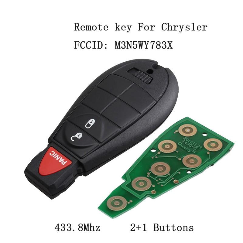 Llave de entrada sin llave para Dodge Grand caravana viaje M3N5WY783X 3 botones llave remota para Chrysler 433,8 Mhz