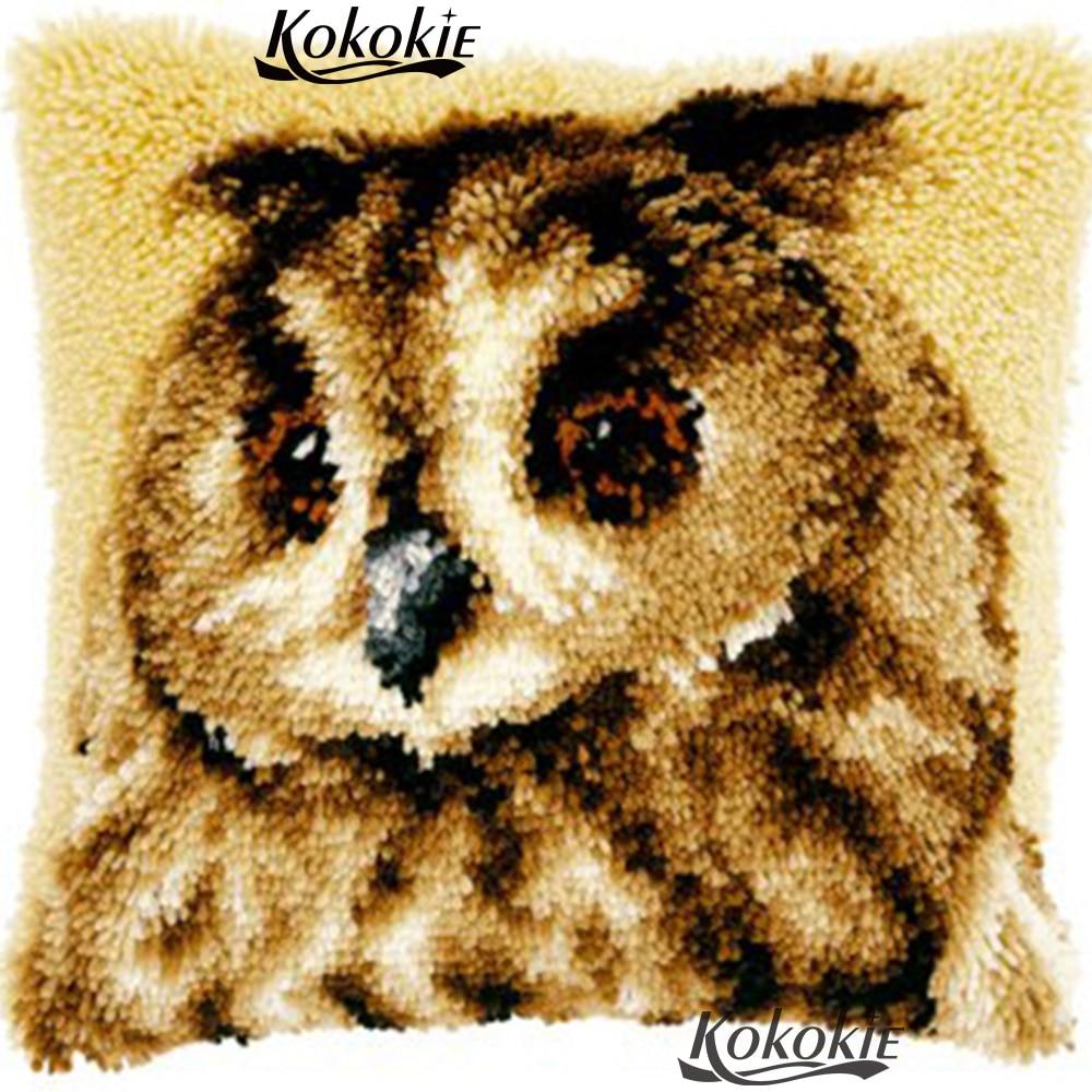 Diy 3d cushion blanket owl embroidery thread latch hook rug kits Cross-stitch Needlework Patchwork Pillowcase