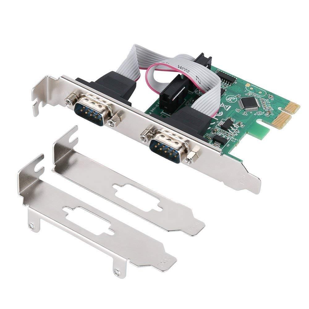 PCIe tarjeta de expansión Serial PCI Express 1,0x1 a 2 puertos Industrial DB9 COM RS232 convertidor adaptador controlador para escritorio PC w