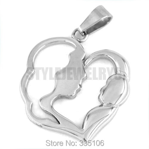 Mother Kids Love Necklace Pendant Stainless Steel Jewelry Everlasting Love Fashion Mom and Children