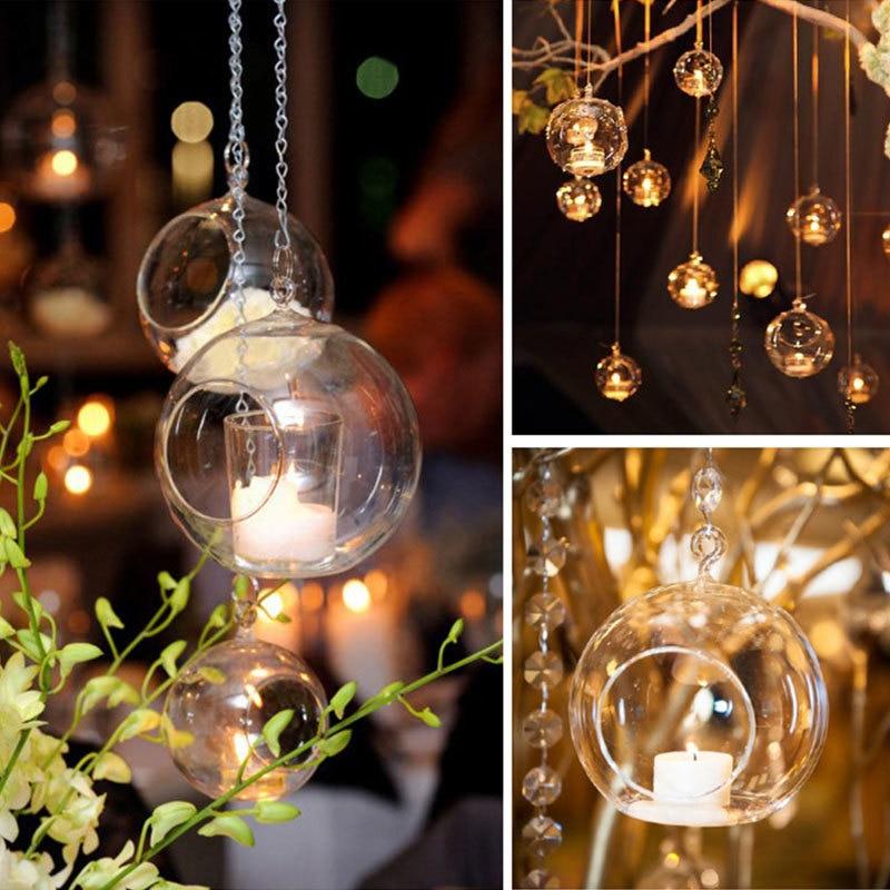 1PC Hanging Tealight Glass Candle Light Holder Globes Terrarium Wedding Candlestick Vase Home Hotel Bar Decor 6CM/8CM/10CM/12CM