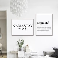 namastay in bed prints yoga decor bedroom modern wall art namaste definition canvas painting yoga artwork zen prints