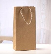 Bouteille de vin en papier Kraft avec poignée en Jute   Sac-cadeau pour jus de fruit, 35x17x9cm, pot de cadeau de noël, sac de couleur unie 13.8 pouces