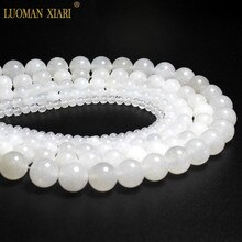 En gros AAA + forme ronde jades blanc naturel perles de pierre pour la fabrication de bijoux bricolage Bracelet en cristal 4/6/8/10/12mm brin 15