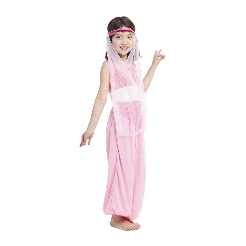 Vestido de princesa árabe de Aladino con pequeñas aventuras, disfraz para niñas, danza del vientre, disfraz Rosa elegante para Halloween y Purim