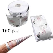 100Pcs Professional Nail Forms 6.3*7.0cm Acrylic Curve Nails UV Gel Extension Nail Art Guide Form Self-Adhesive DIY Nail Sticker