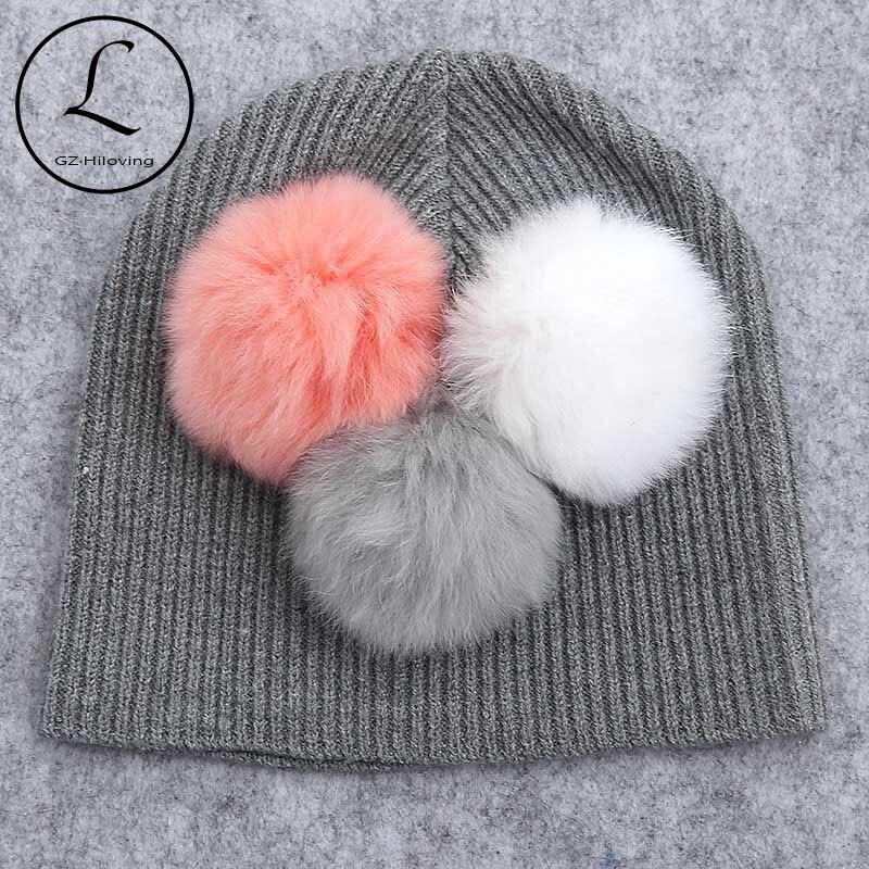 Bonnet en laine tricoté pour nouveau-né   Bonnet en laine, mignon doux, pour bébés garçons et filles, nouveaux chapeaux 2019 pour enfants nourrissons, véritable fourrure, pompon