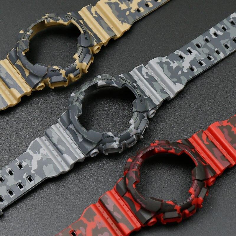 Camo resina funda con correa de los hombres hebilla de reloj accesorios para G-SHOCK GA-110 GA-100 GD-120 5146 impermeable 5081 correa de caucho