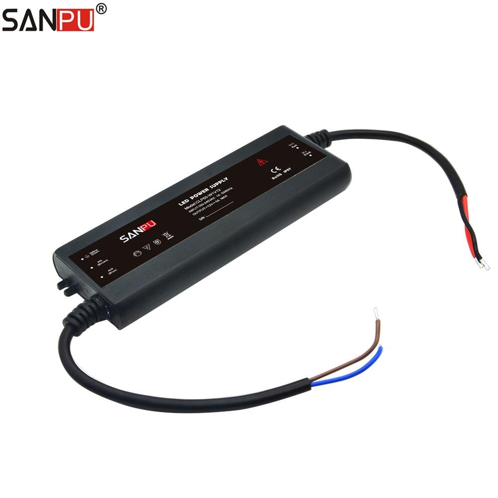 SANPU 12 Volt Slim Power Supply Unit IP67 Wasserdichte Kunststoff 60 W 5 Amp Konstante Spannung 12 V LED Streifen fahrer AC-DC CLP60-W1V12
