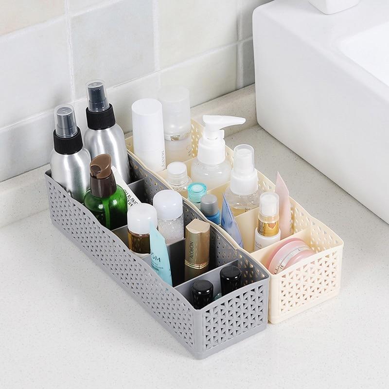 LASPERAL 1PC de plástico Caja de almacenaje para maquillaje de escritorio caja de almacenamiento para armario organizador 5 redes calcetines sujetador ropa interior organizador de armario