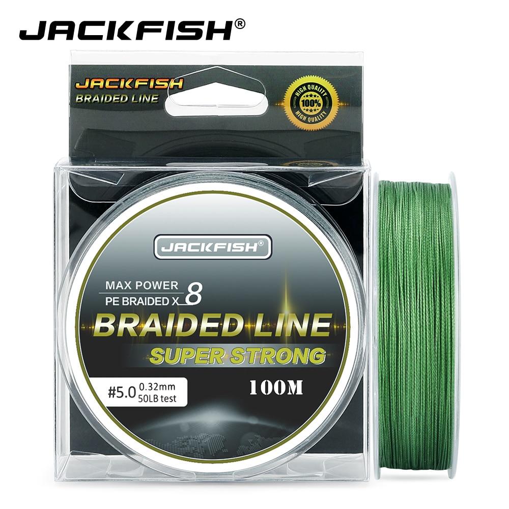 JACKFISH 100 м 8 нитей PE плетеная рыболовная леска 10-80 фунтов мультифиламентные лески для ловли карпа рыболовные снасти для морской рыбалки