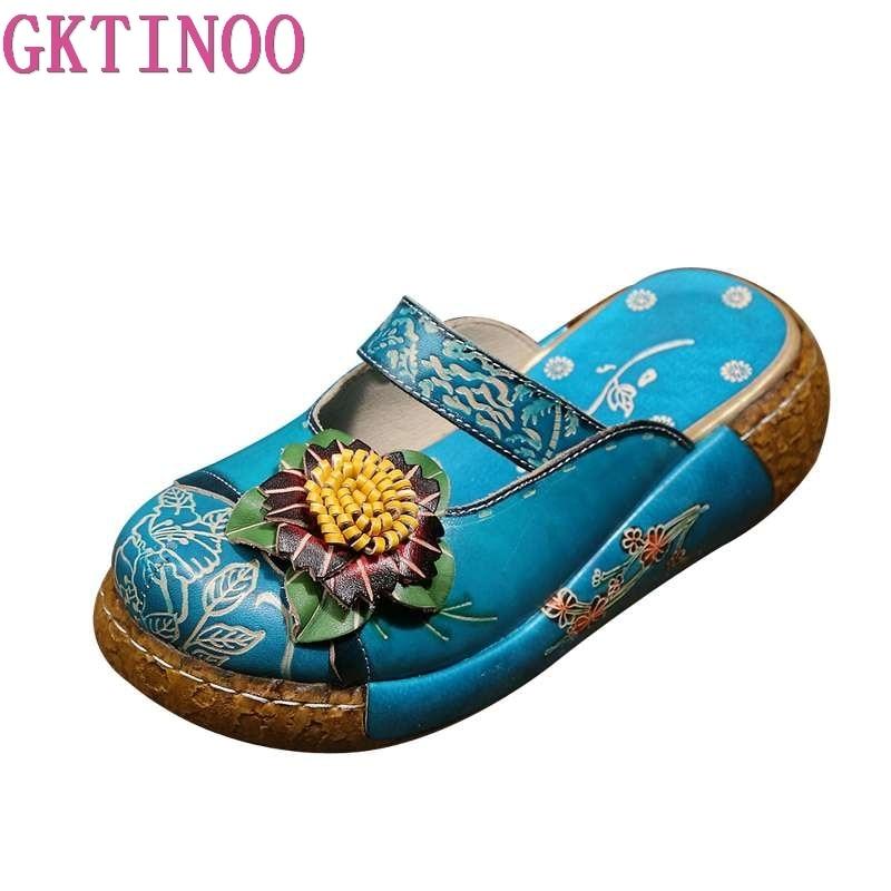 GKTINOO-شبشب من الجلد الطبيعي بالزهور للنساء ، شبشب ، صناعة يدوية ، قباقيب منصة