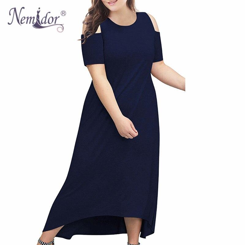 Nemidor feminino vintage ombro frio casual manga curta vestido longo plus size 8xl 9xl alta-baixo hem festa maxi vestido com bolso